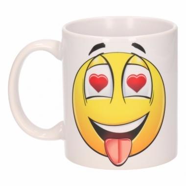 Verliefde hartjesogen emoticon beker / mok 300 ml
