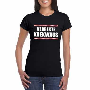 Verrekte koekwaus fun t-shirt voor dames zwart
