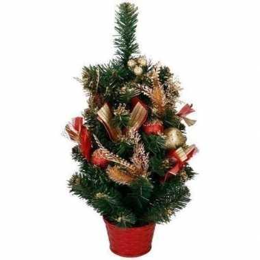 Versierde kunst kerstboom rood / goud 50 cm