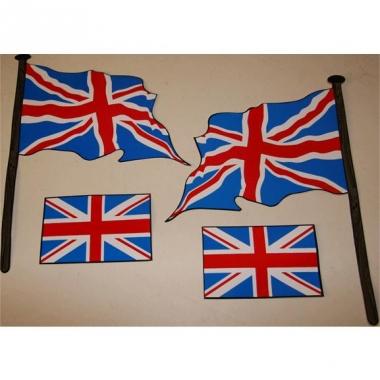 Vier engelse vlag stickers