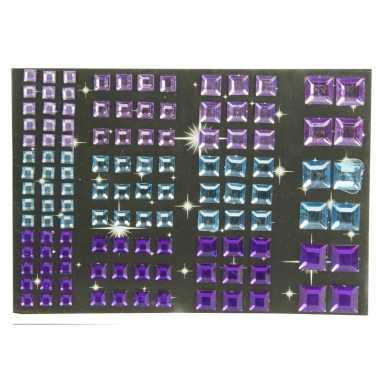 Vierkante strass plaksteentjes paars en blauw