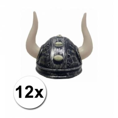 Viking helmen met twee hoorns 12 st