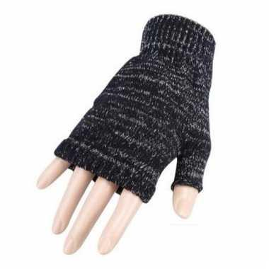 Vingerloze gemeleerde grijze polsmofjes/handschoenen voor volwassenen