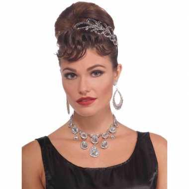 Vintage gala ketting verkleedaccessoire met namaak diamanten voor dam