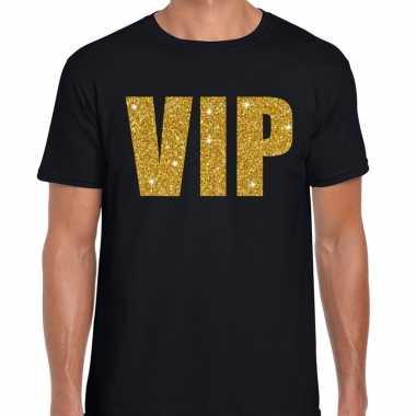 Vip fun t-shirt zwart met goud voor heren