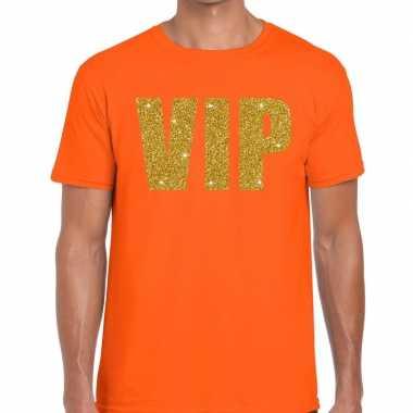 Vip glitter goud t-shirt oranje voor heren