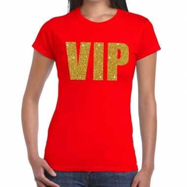 Vip glitter goud t-shirt rood voor dames