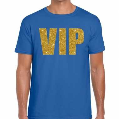 Vip glitter goud t-shirt voor heren blauw
