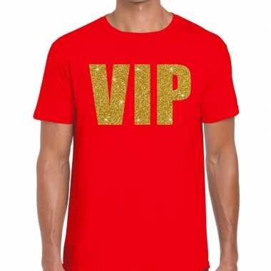 Vip glitter goud t-shirt voor heren rood
