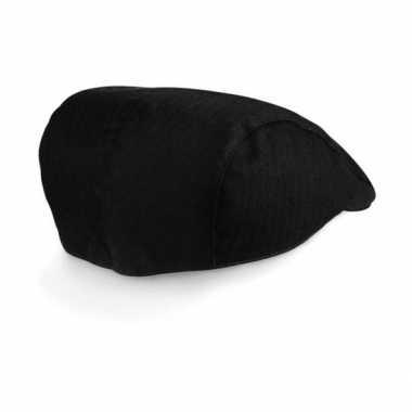 Visgraat platte pet voor dames zwart