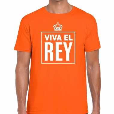 Viva el rey spaanstalig shirt oranje heren