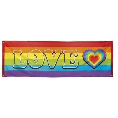 Vlag banier met regenboog hartjes print 74 x 220 cm