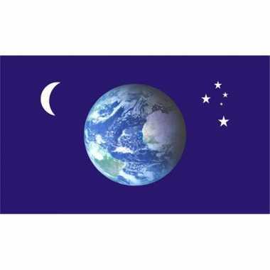 Vlag met aarde, maan en sterren afbeelding