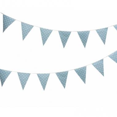 Vlaggenlijn blauw met witte stippen 4 meter