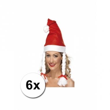 Vlechten kerstmutsen rood 6x