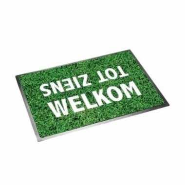 Voetbal fan cadeau deurmat welkom tot ziens 40 x 60 cm