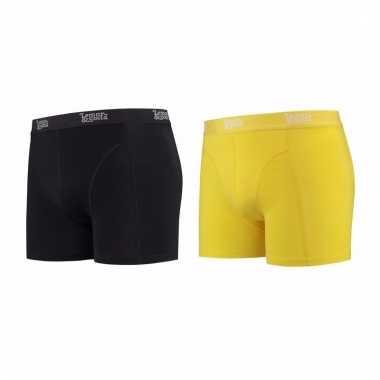 Voordeelpakket lemon and soda boxers zwart en geel 2 stuks s