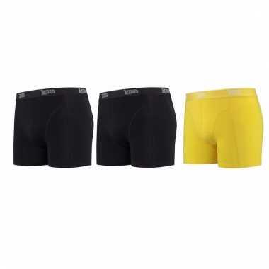 Voordeelpakket lemon and soda boxers zwart en geel 3 stuks xl