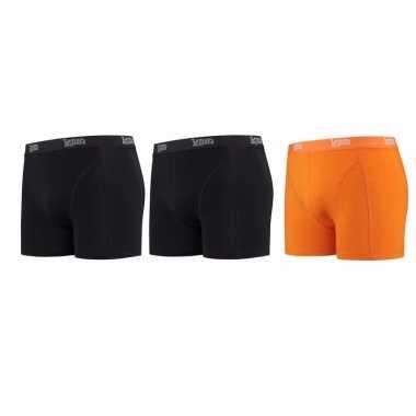 Voordeelpakket lemon and soda boxers zwart en oranje 3 stuks s