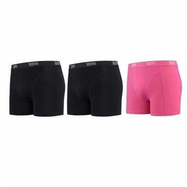 Voordeelpakket lemon and soda boxers zwart en roze 3 stuks xl