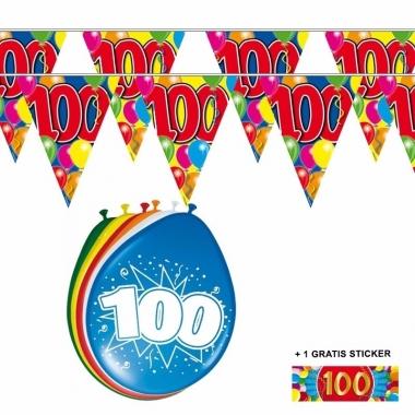 Voordeelset 100 jaar met 2 vlaggenlijnen en ballonnen