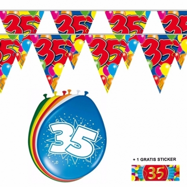 Voordeelset 35 jaar met 2 vlaggenlijnen en ballonnen