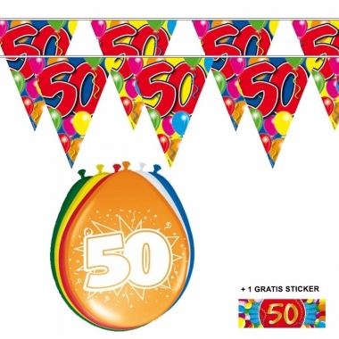 Voordeelset 50 jaar met 2 vlaggenlijnen en ballonnen