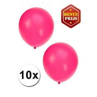 Voordelige fluor roze ballonnen 10 stuks