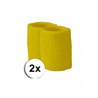 Voordelige gele zweetbandjes set