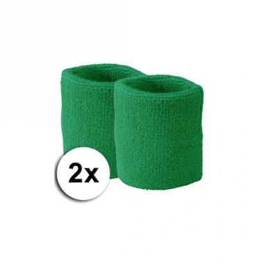 Voordelige groene zweetbandjes set