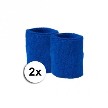 Voordelige kobalt zweetbandjes set