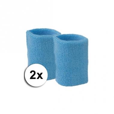Voordelige lichtblauwe zweetbandjes set