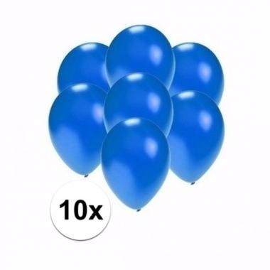 Voordelige metallic blauwe ballonnen klein 10 stuks