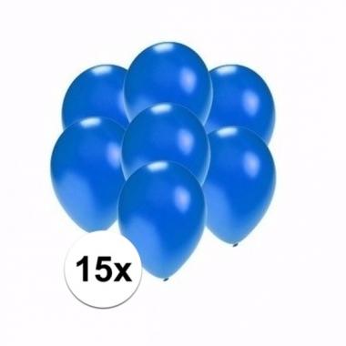 Voordelige metallic blauwe ballonnen klein 15 stuks