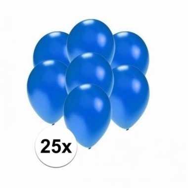 Voordelige metallic blauwe ballonnen klein 25 stuks