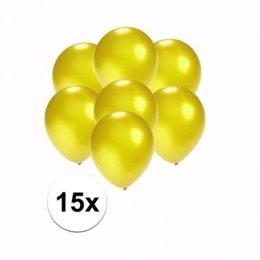 Voordelige metallic gele ballonnen klein 15 stuks