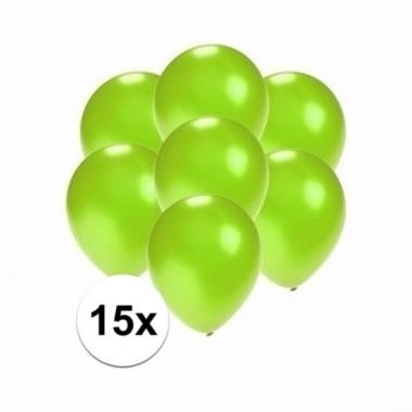 Voordelige metallic groene ballonnen klein 15 stuks