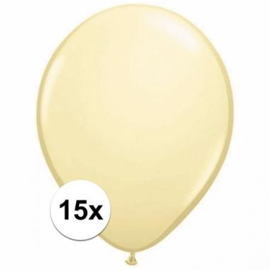 Voordelige metallic ivoren ballonnen 15 stuks