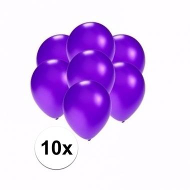 Voordelige metallic paarse ballonnen klein 10 stuks