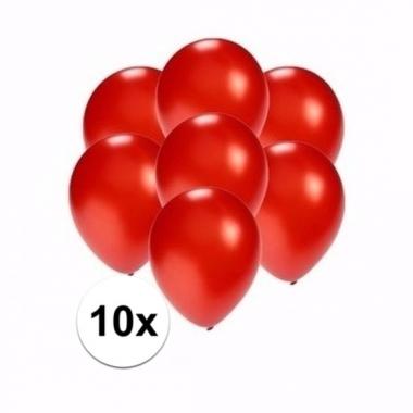 Voordelige metallic rode ballonnen klein 10 stuks