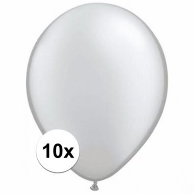 Voordelige metallic zilveren ballonnen 10 stuks