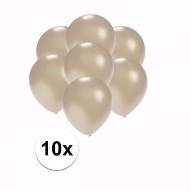 Voordelige metallic zilveren ballonnen klein 10 stuks