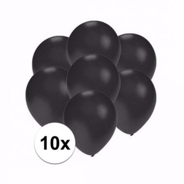 Voordelige metallic zwarte ballonnen klein 10 stuks