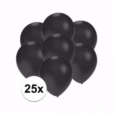 Voordelige metallic zwarte ballonnen klein 25 stuks