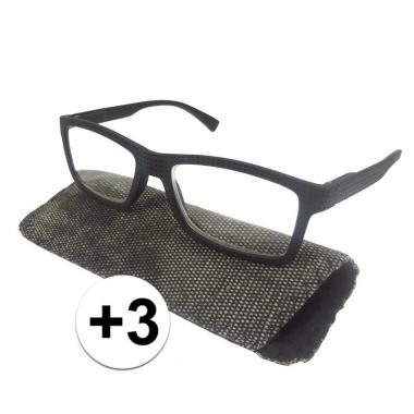 Voordelige zwarte leesbril +3 met stippen