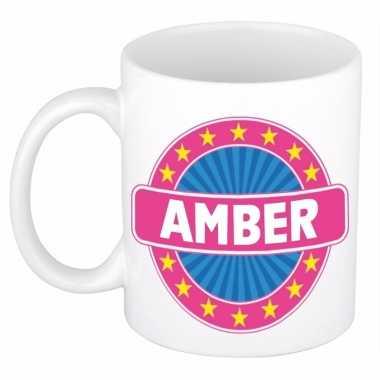 Voornaam amber koffie/thee mok of beker