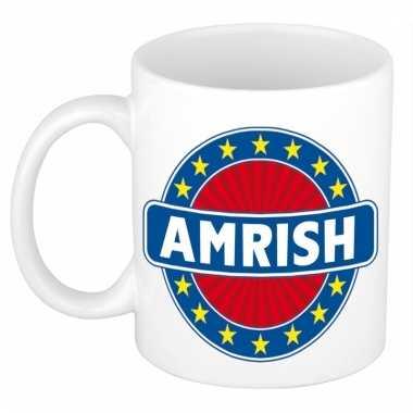 Voornaam amrish koffie/thee mok of beker