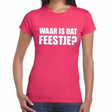 Waar is dat feestje fun t-shirt voor dames roze