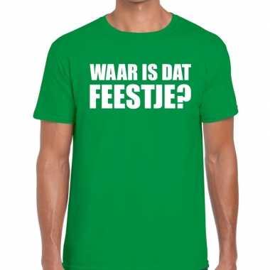 Waar is dat feestje fun t-shirt voor heren groen