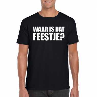 Waar is dat feestje fun t-shirt voor heren zwart